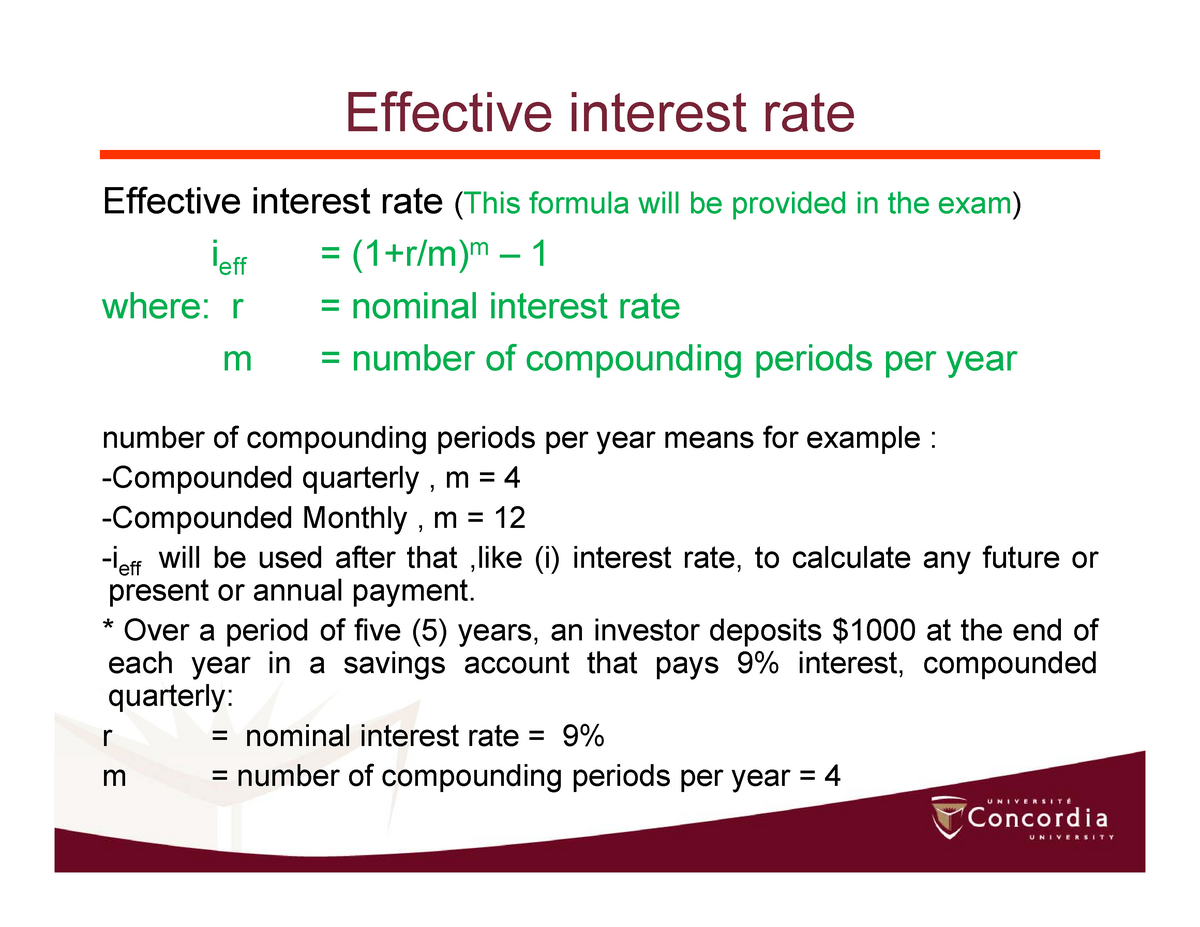 Effective Interest Rate Engr 301 Concordia Studocu