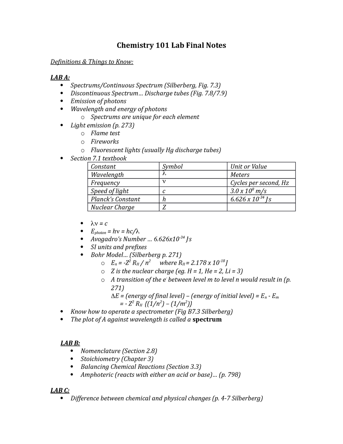Summary - lab notes for the final lab exam - Chem101 - StuDocu