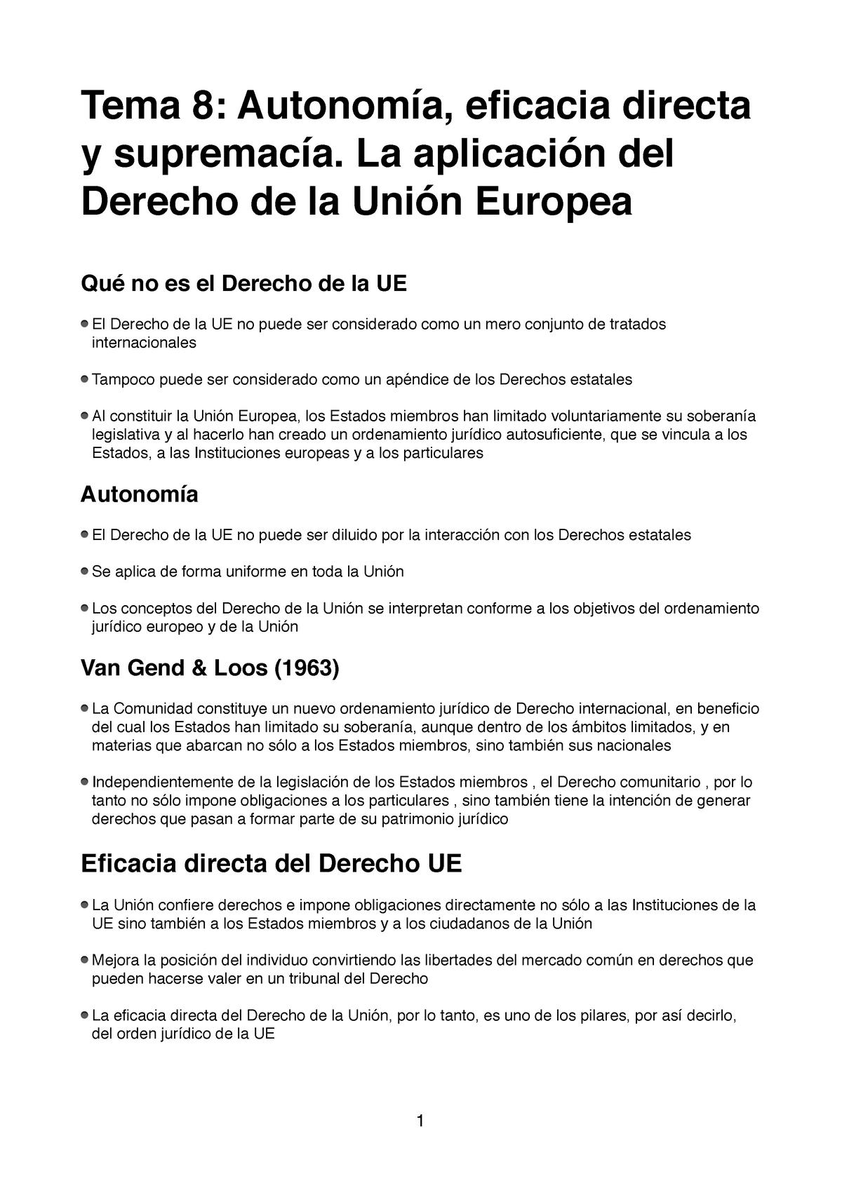 Tema 8 Teresa Y Aday Derecho De La Unión Europea Uvigo