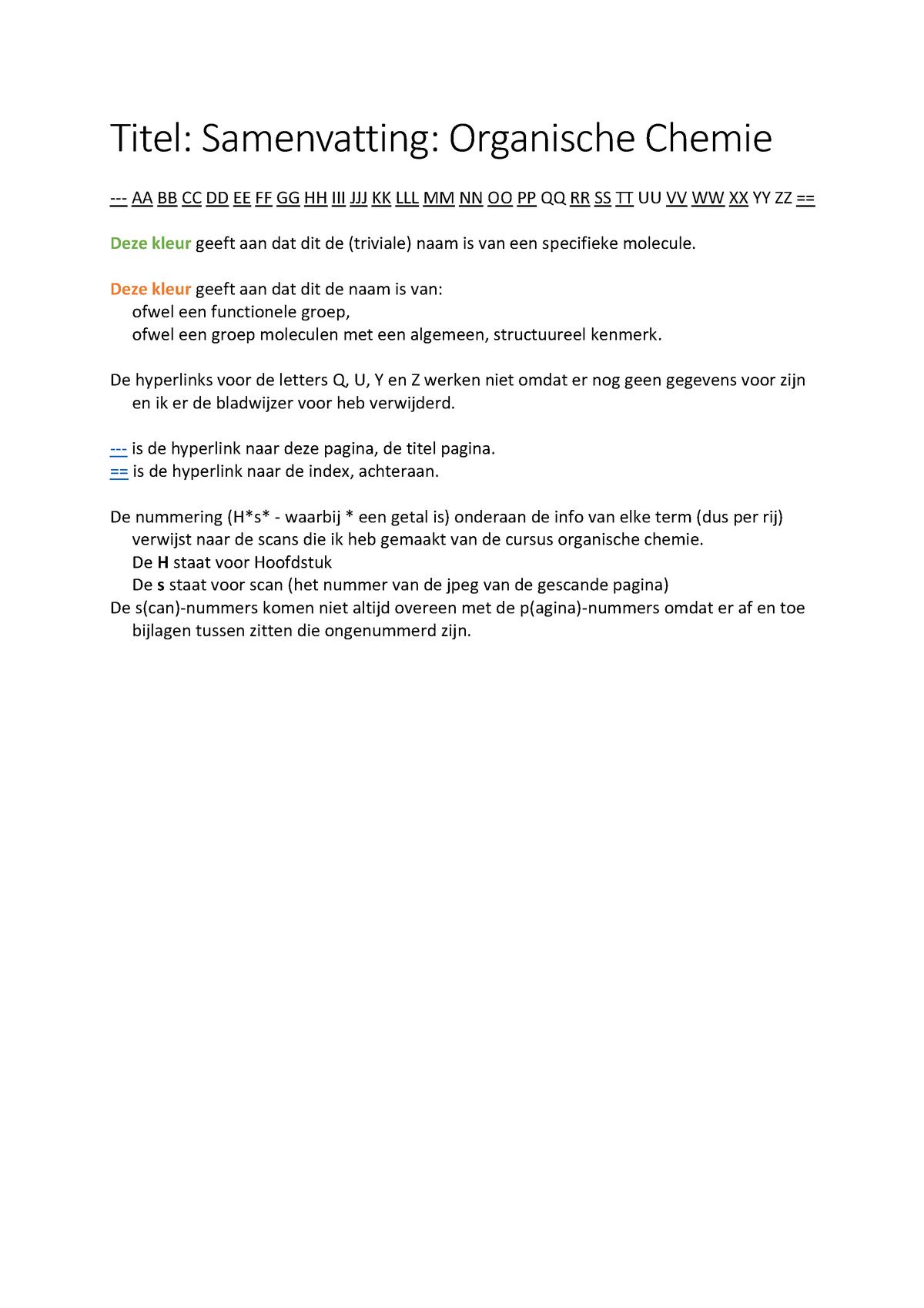 Organische Chemie Samenvatting In Tabellen Pdf Hogent