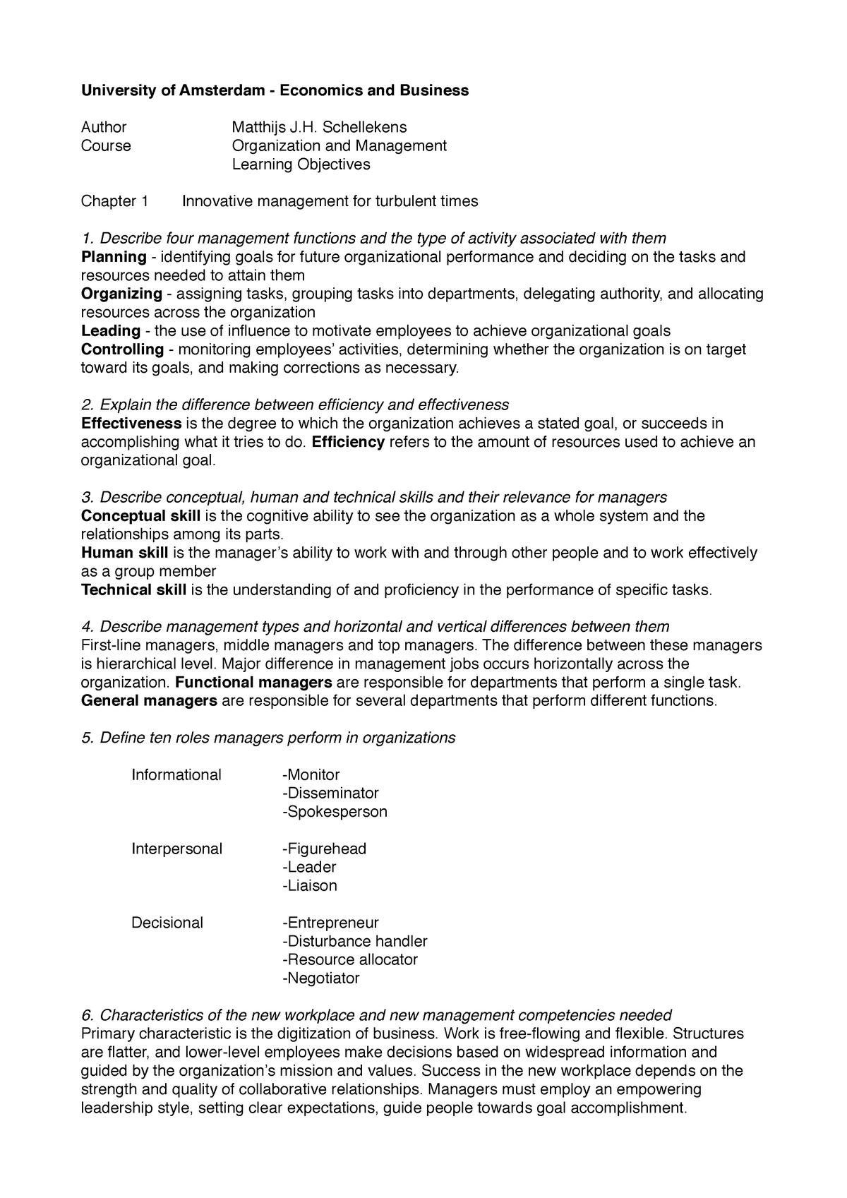 Summary Final Exam Organization and Management - 6011P0128Y