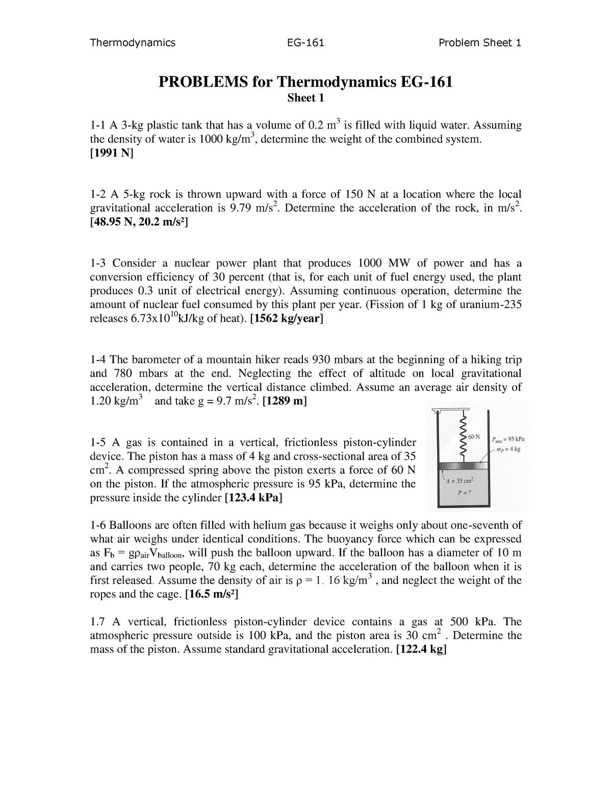 Problem sheet 1 - EG-161: Thermodynamics 1 - StuDocu