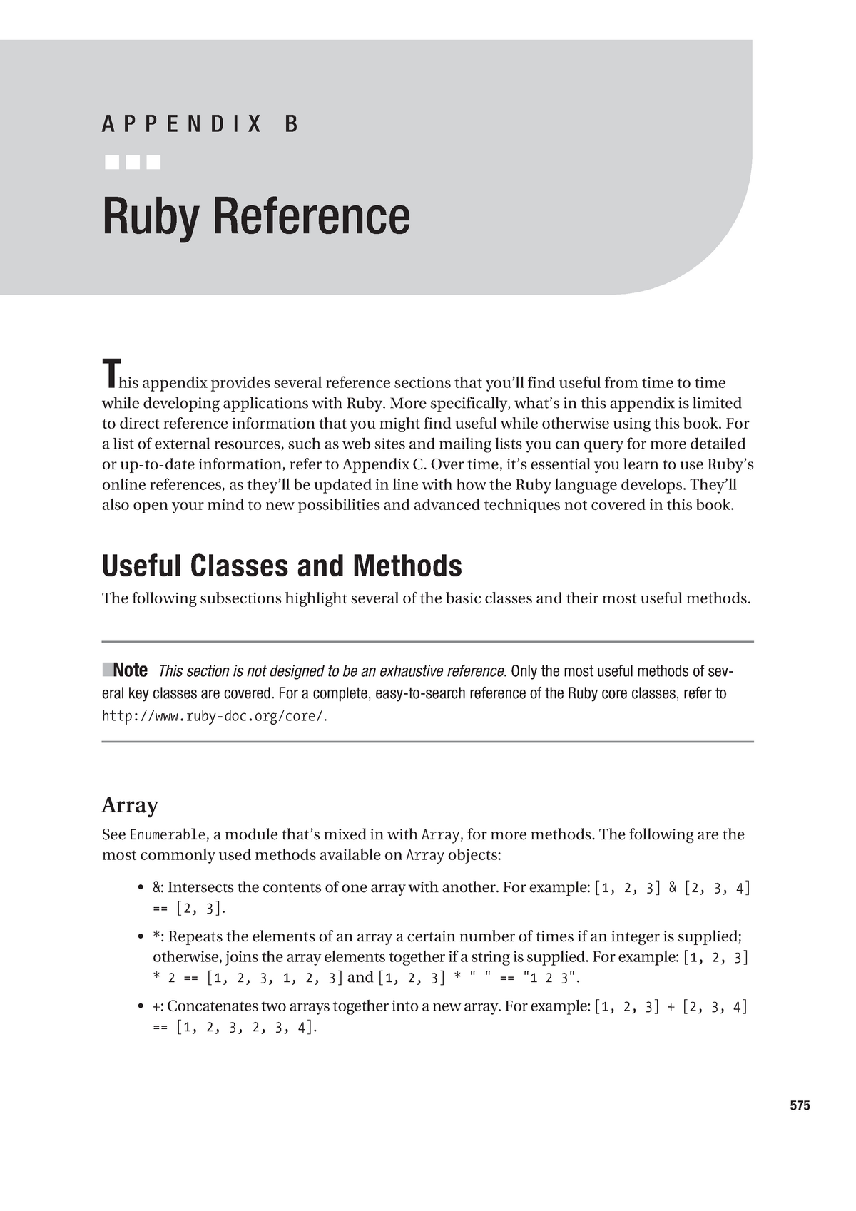 Appendix B - Ruby Reference - CAB403: Systems Programming