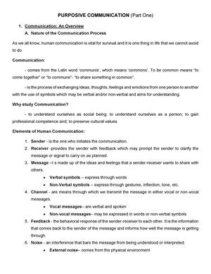Purposive Communication (Part 1) - GEED 10063 - StuDocu