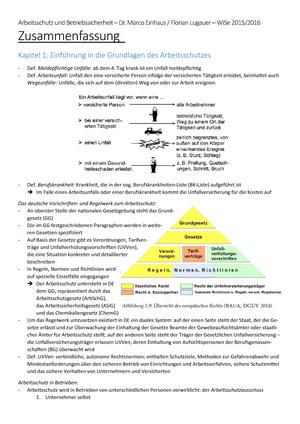Zusammenfassung Arbeitsschutz Und Betriebssicherheit Ws1415