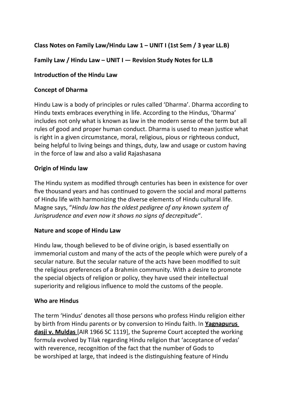 LLB Notes- Family Law -1 (Hindu Law) - - StuDocu