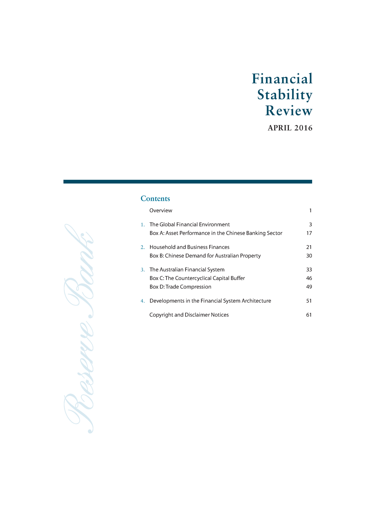 Financial stability review 2016-04 - BFF3651: Treasury Management