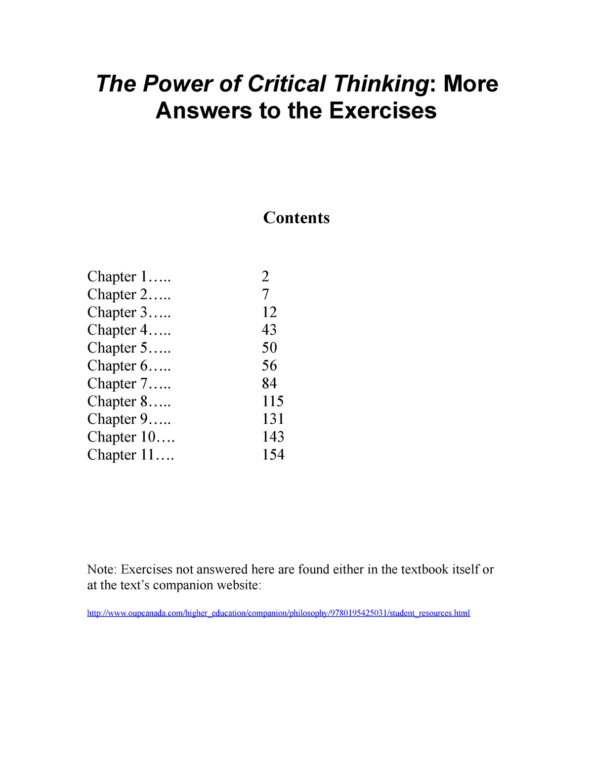Vaughn Exercise Answers - Critical Thinking PHIL105 - StuDocu