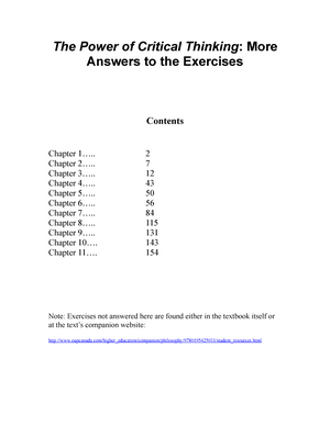 Vaughn Exercise Answers Phil105 Critical Thinking Studocu