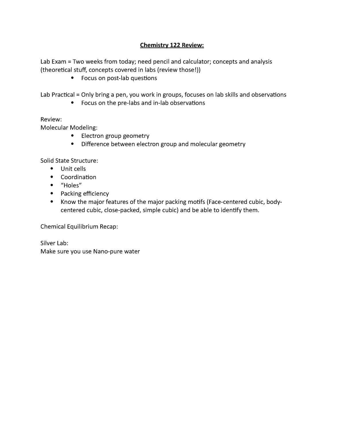 Chemistry 122 Review - General Inorganic Chemistry Lab