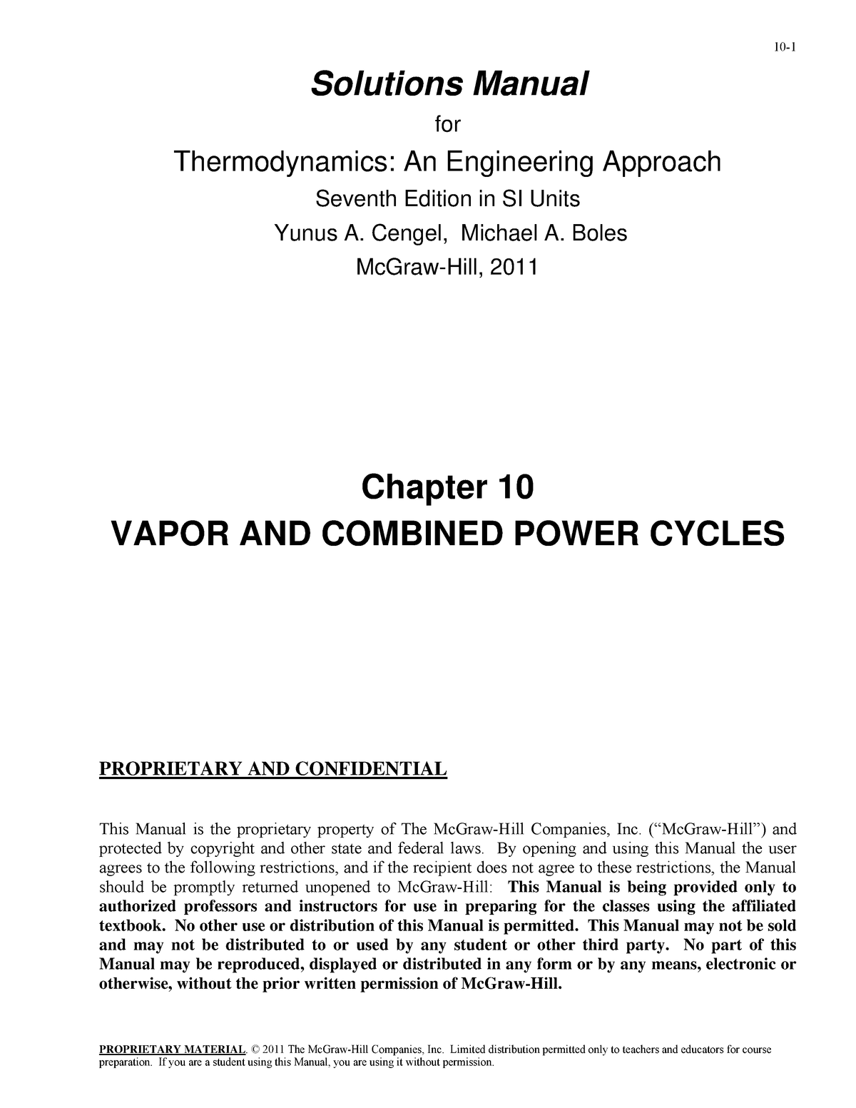 SM Chap10 - Solution manual Thermodynamics: an Engineering Approach