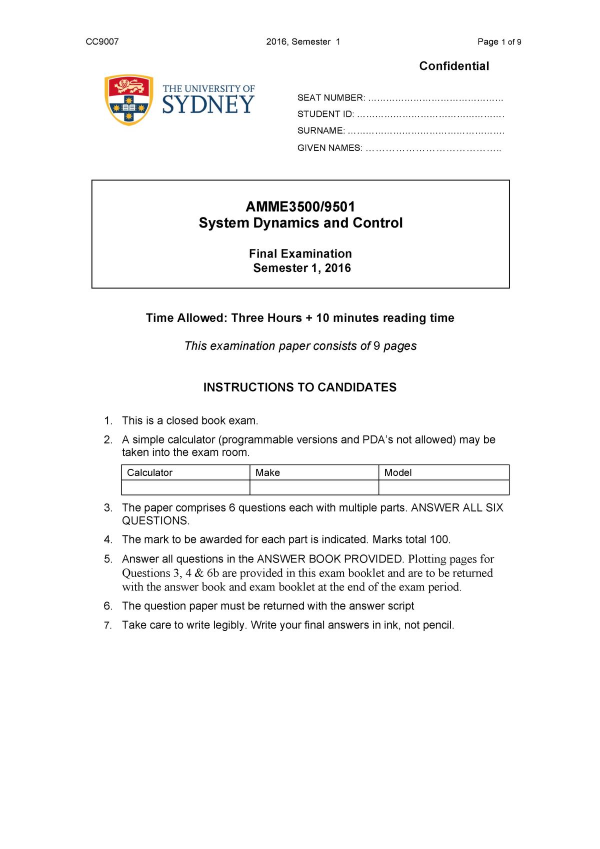 Exam 2016 - AMME3500: System Dynamics and Control - StuDocu