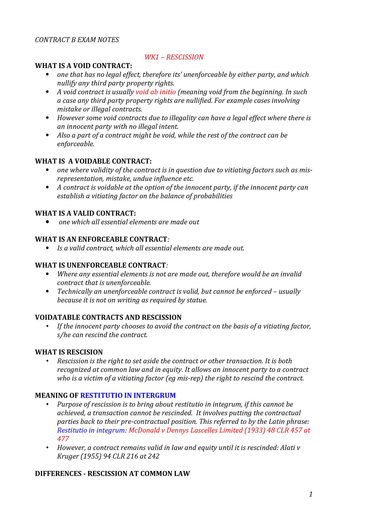 LAW2CTB-Timi Exam notes - LAW2CTB Contract Law B - LaTrobe