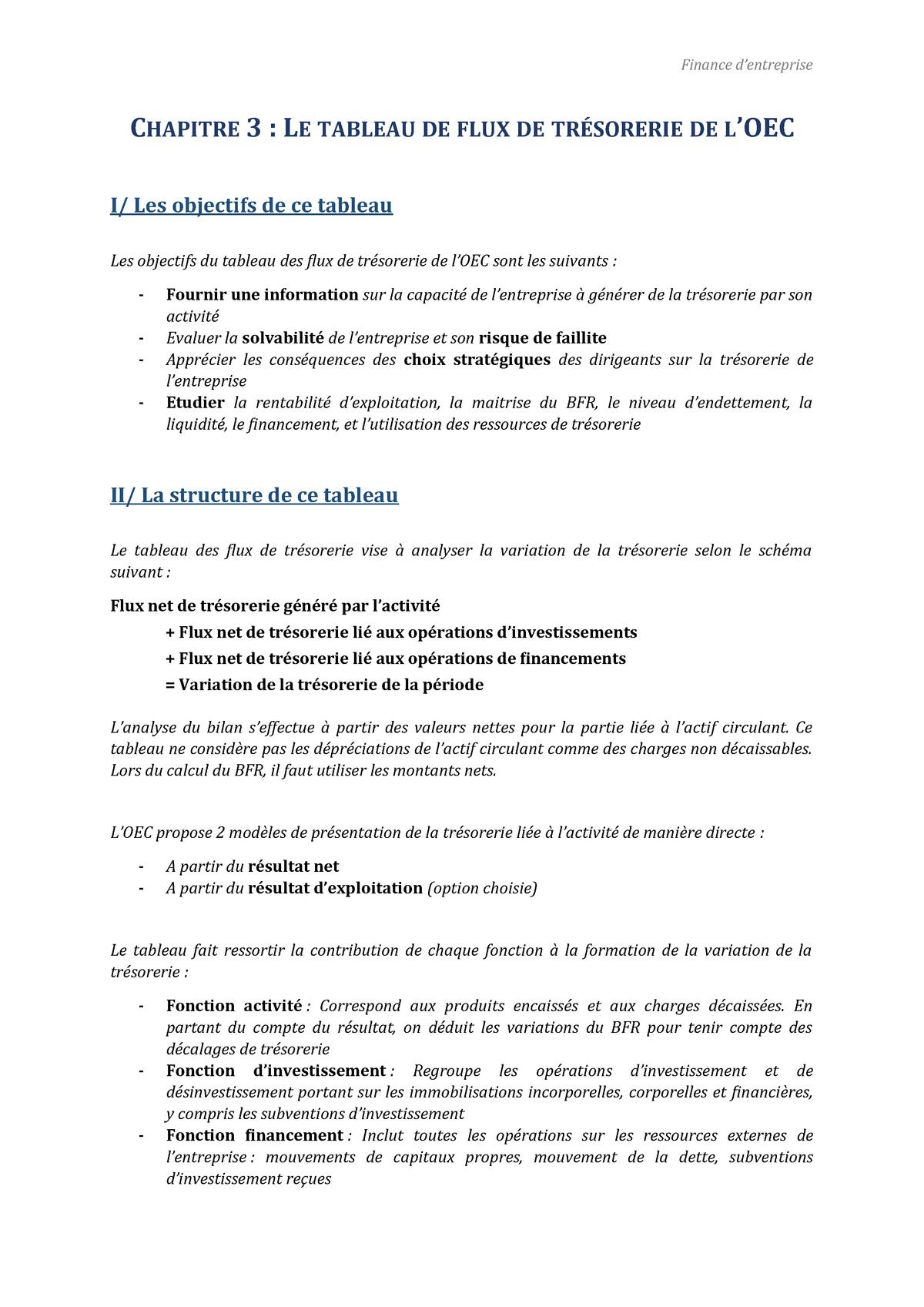 Chapitre 3 Tableau Des Flux Des Tresorerie De L Oec Studocu