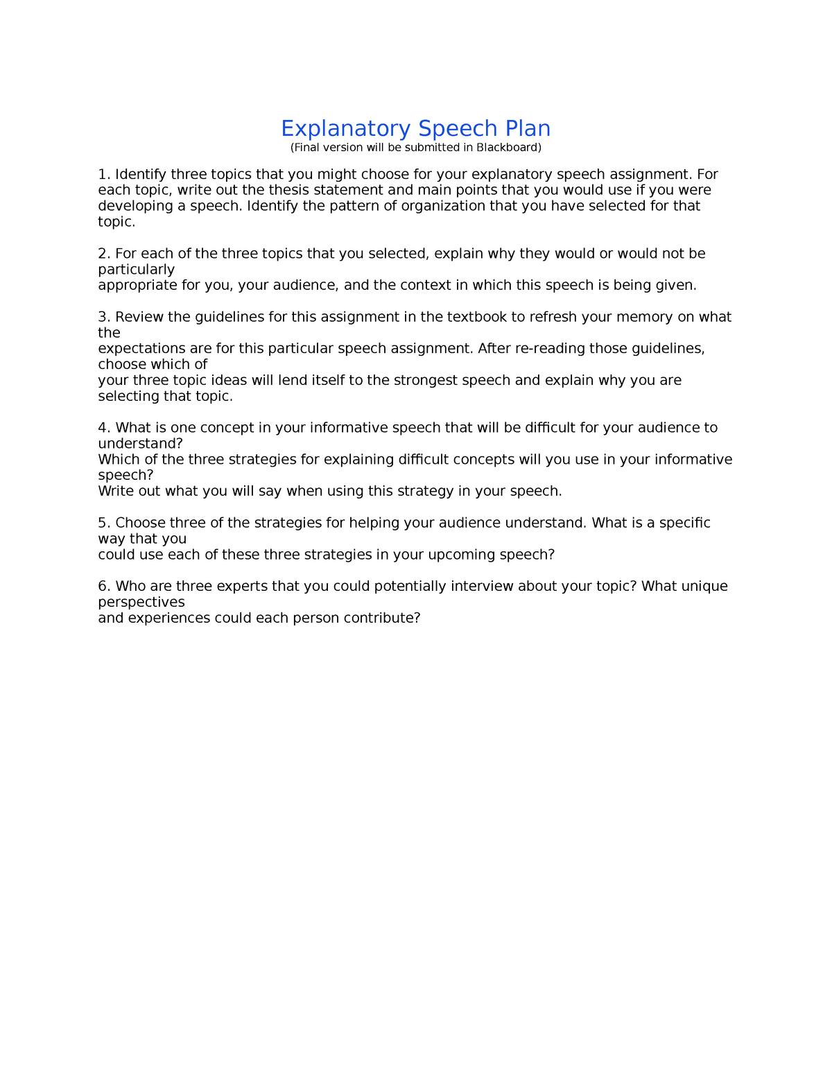 Explanatory Speech Plan - COMM 100: Public Speaking - StuDocu
