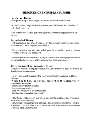 Lecture notes - Entrepreneurship - Theories OF
