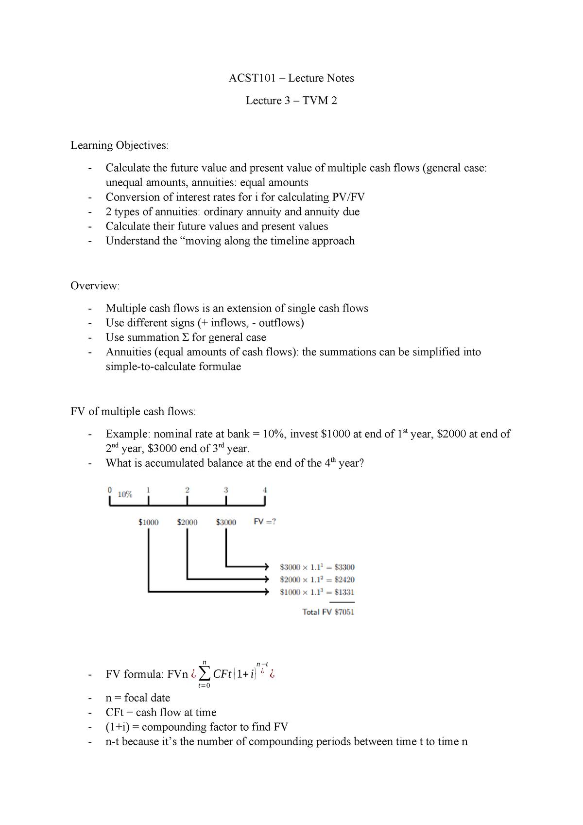 Lecture 3 - TVM 2 - ACST101: Finance 1A - StuDocu