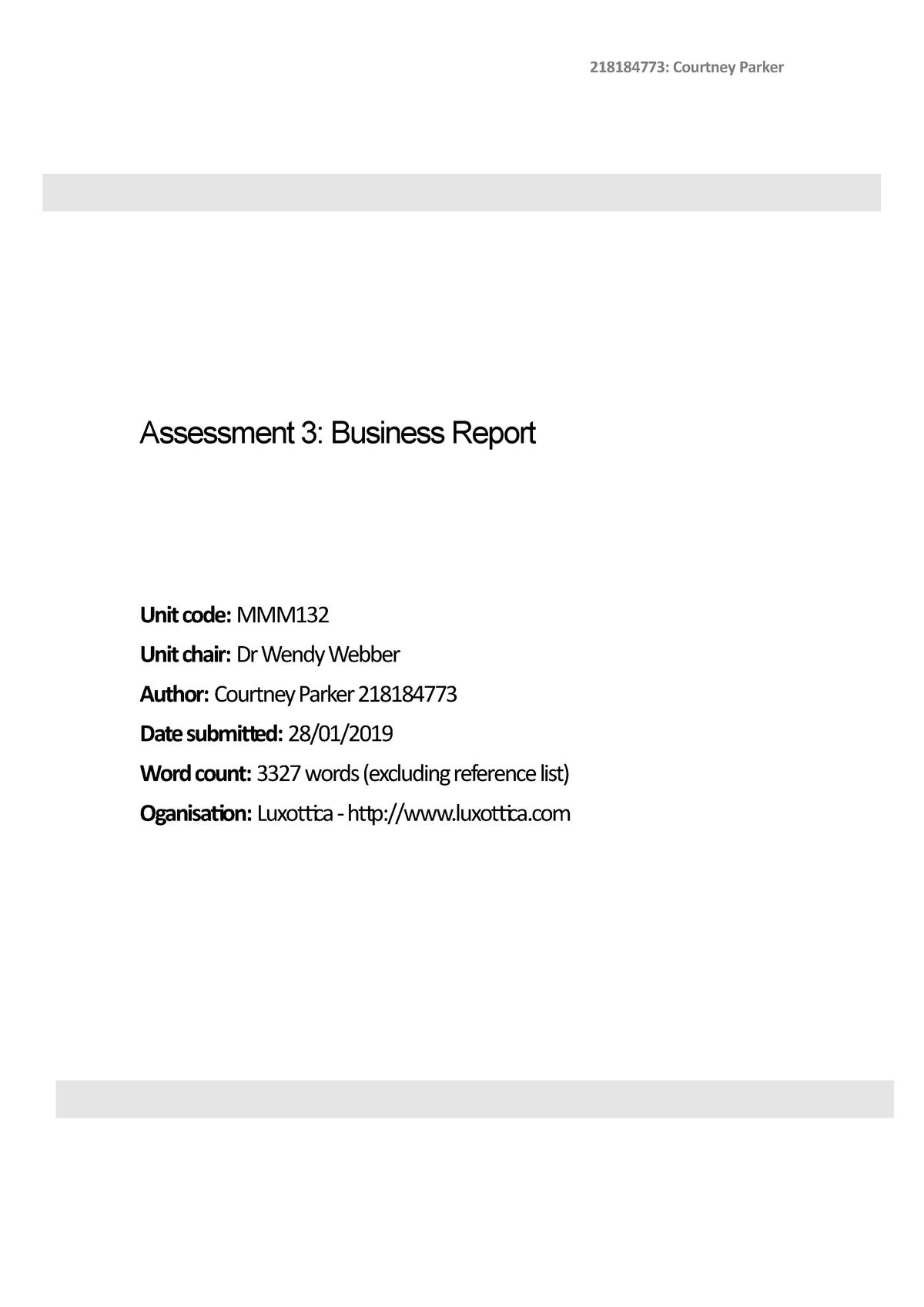 MMM132 Assessment 1 3 Courtney Parker - MMM132: Management - StuDocu