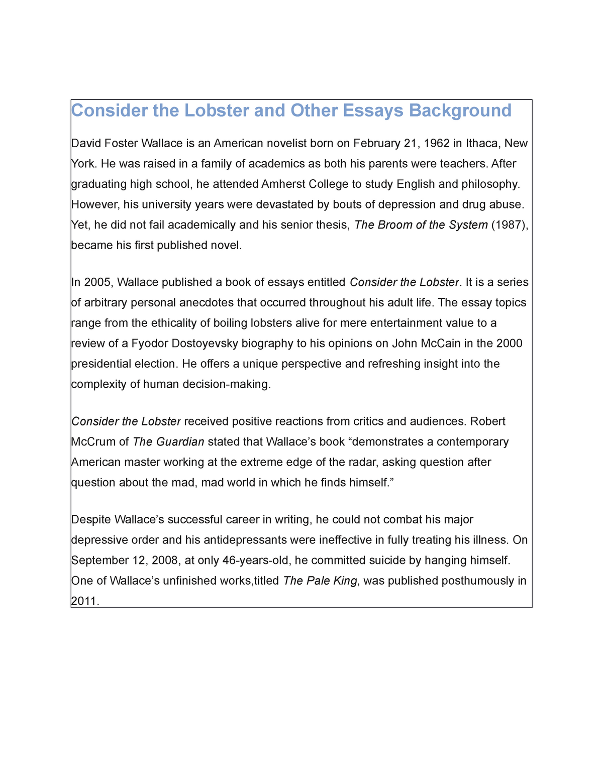 consider the lobster and other essays background   studocu