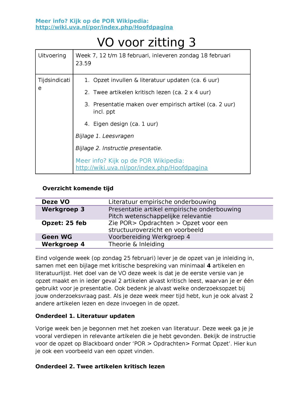 VO voor zitting 3 de opdracht - 7202A606XY: Practicum