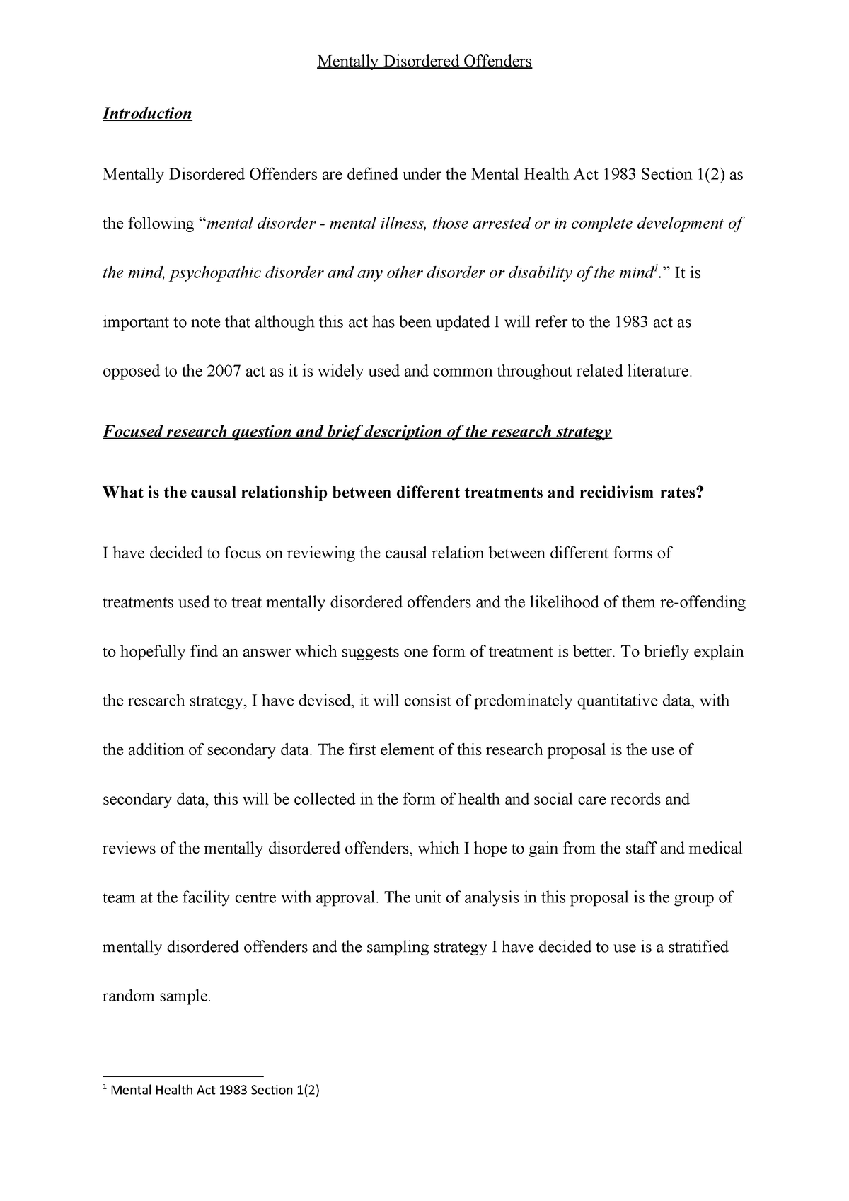 Criminology Research Proposal Questions
