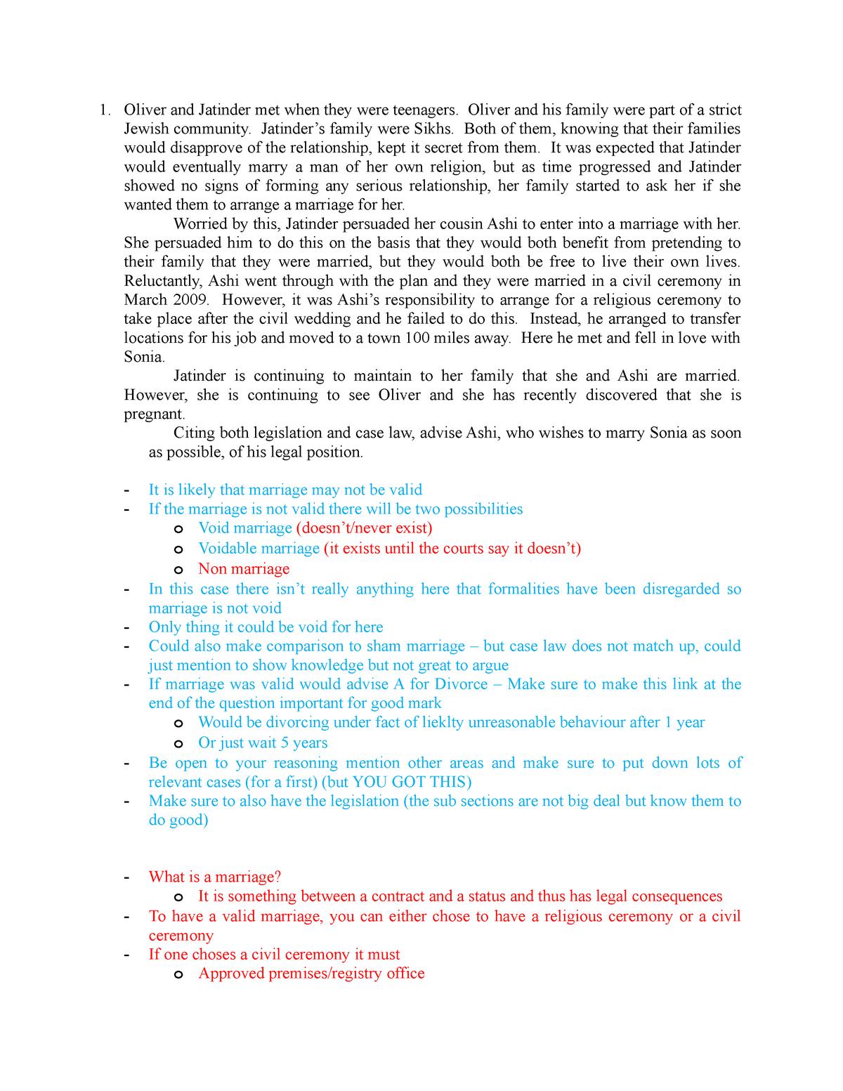 Tutorial 2- Family Law - LW2250: Family Law - StuDocu