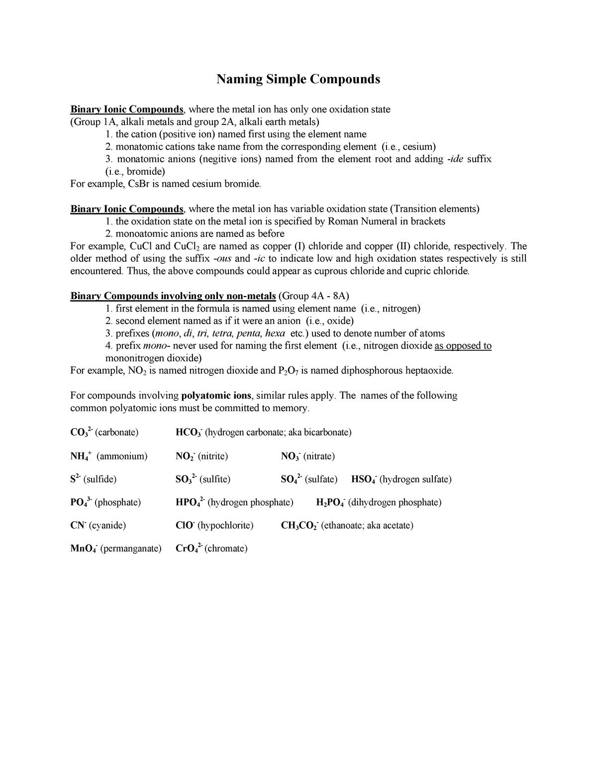 Naming review - CHEM311: Environmental Chemical Analysis - StuDocu