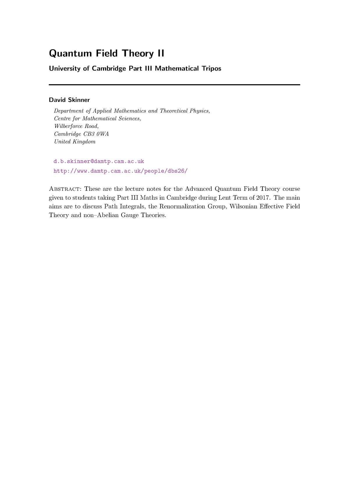Quantum Field TheoryAn Introduction - Fundamentals of