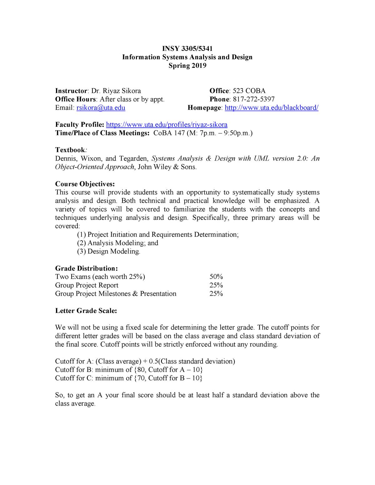 5341Syllabus Spring 19 - Analysis and Design INSY 5341 - StuDocu