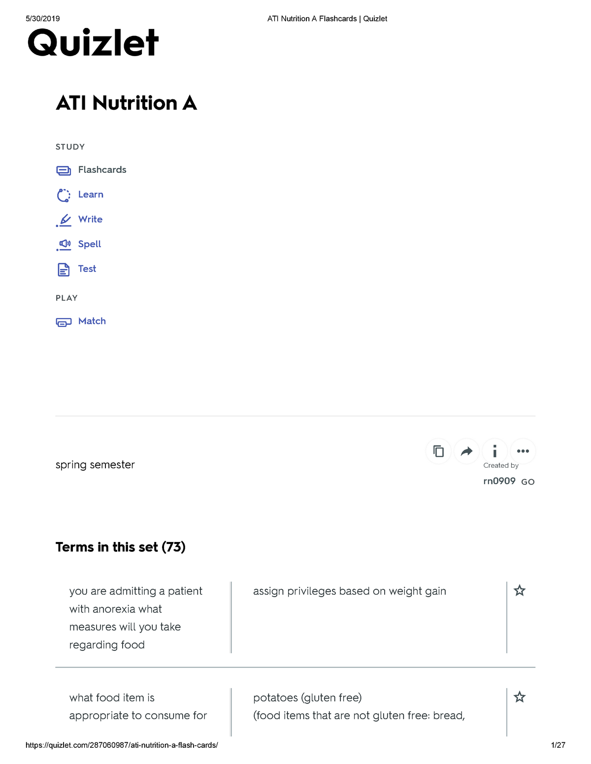 ATI Nutrition A Flashcards Quizlet-Summer 2019 - AHN 447