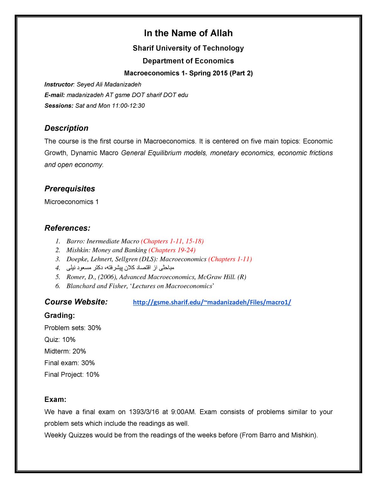 Syllabus Macro 1 - 20139 - StuDocu