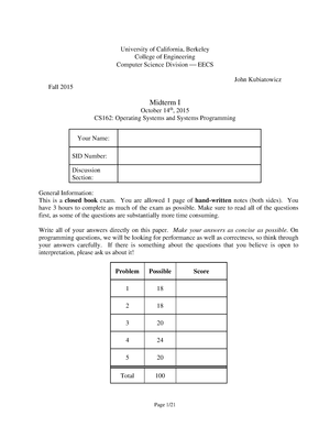 Exam 2015 - COMPSCI 162: Operating Systems And System