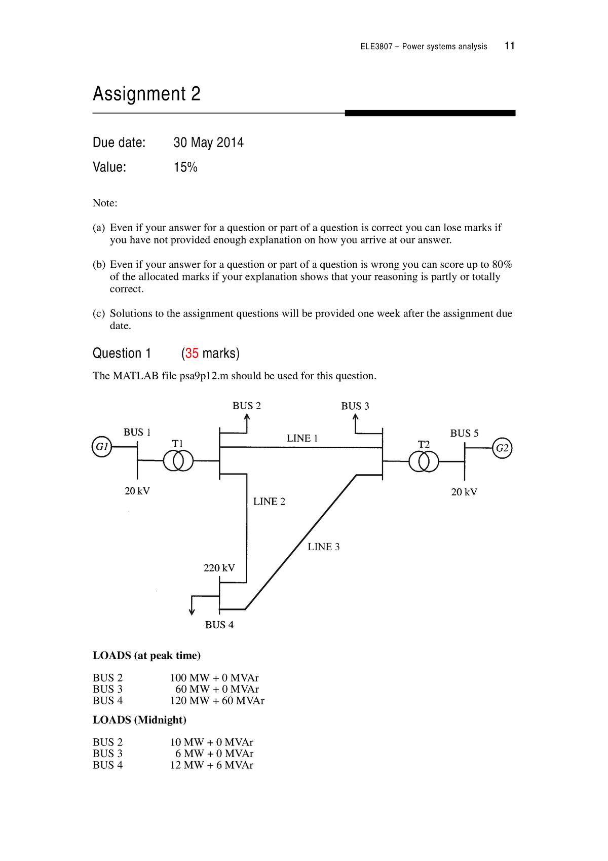 ELE3807 Assignment 2 2014 - ELE3807: Power Systems Analysis