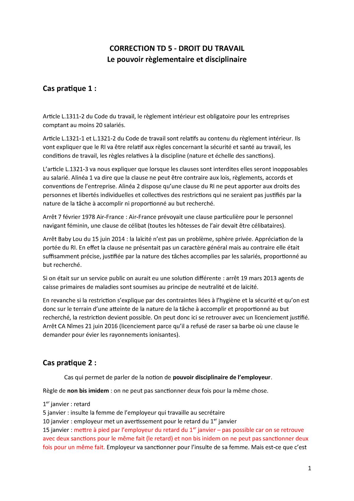 8fda54365d7f79 CORRECTION - Le pouvoir règlementaire et disciplinaire - Droit du ...