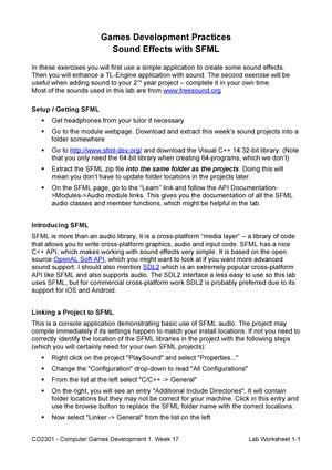 CO2301-17 Lab Worksheet 2008 Sound - CO2301: Games