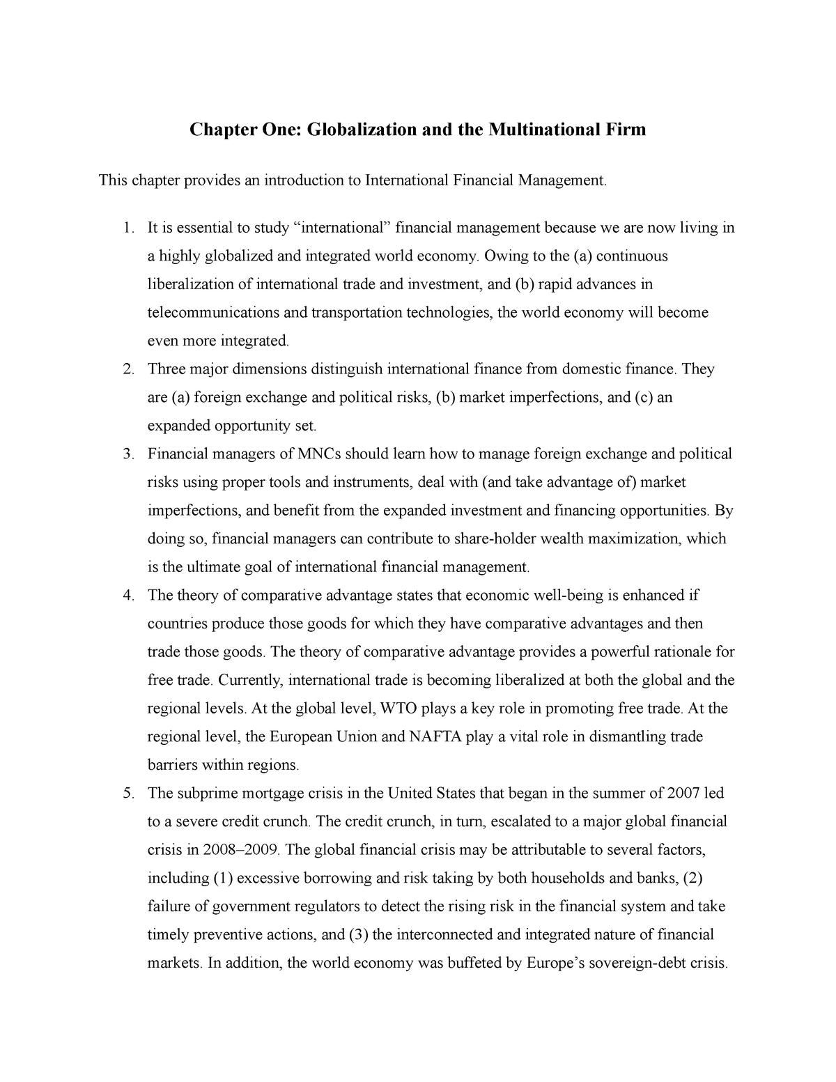 Chapter One - Intermediate macroeconomics - StuDocu