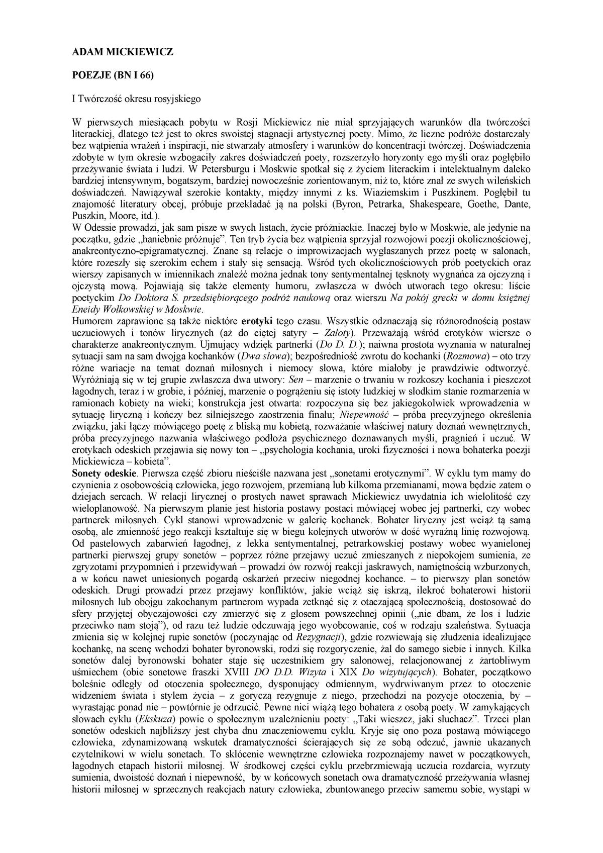 Mickiewicz Opracowania Różne Filologia Polska Uwm