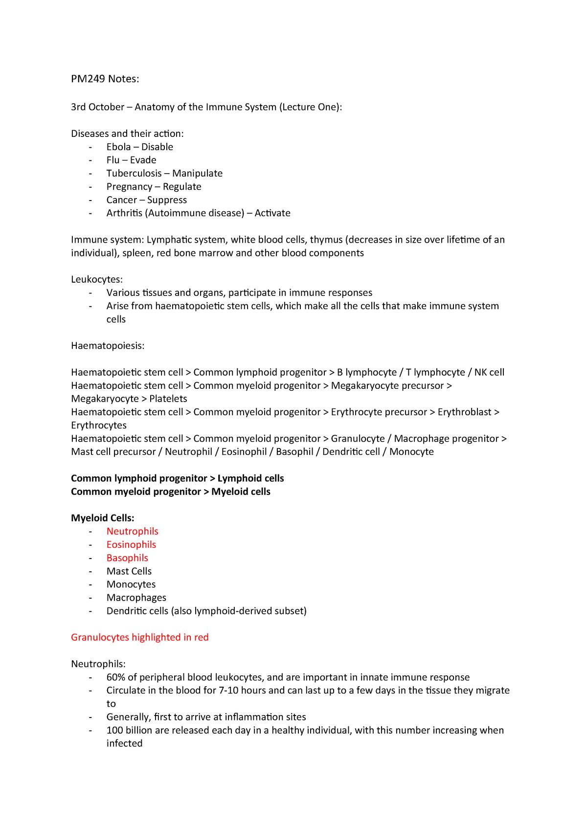 PM249 Notes - Human Immunology PM-249 - Swansea - StuDocu