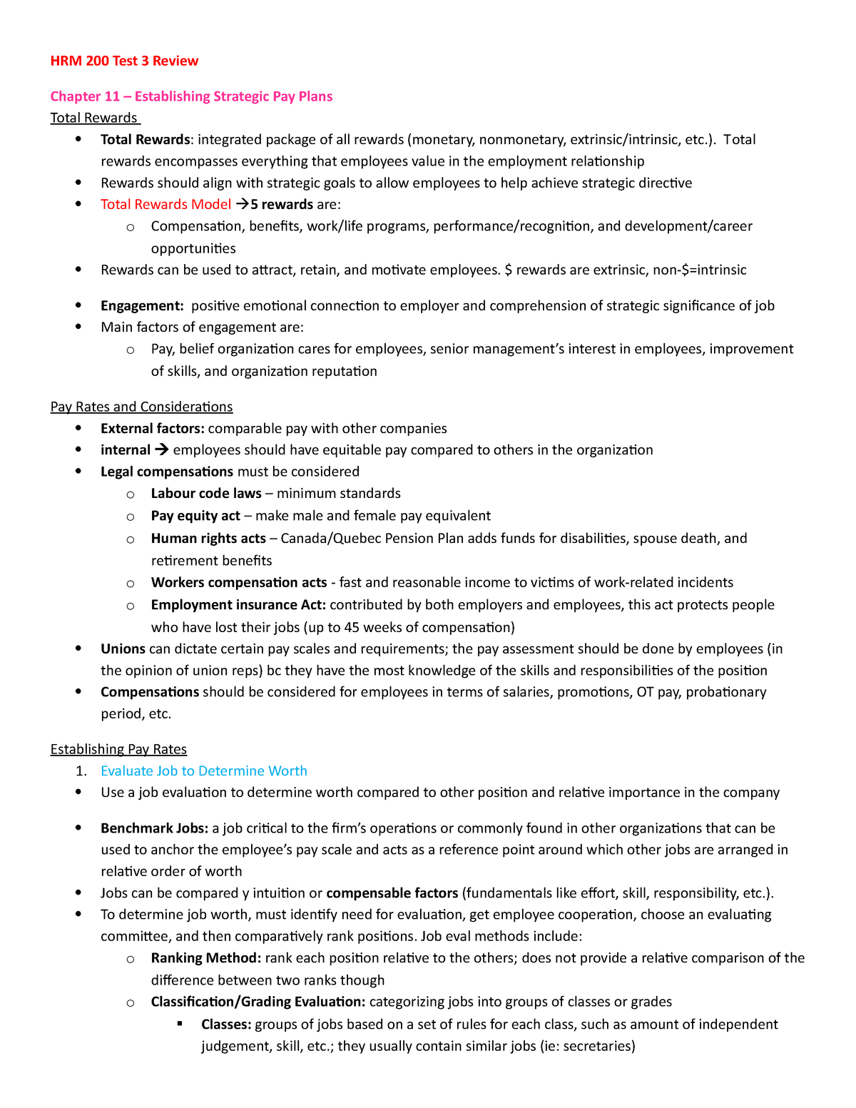 Calcul Salaire Net Québec >> Hrm 200 Test 3 Review Summary Basic Human Resources Mgmt Studocu
