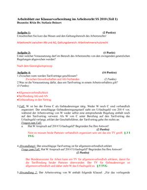 Übungen - Arbeitsblatt zur Klausurvorbereitung, Aufgaben + Antworten ...