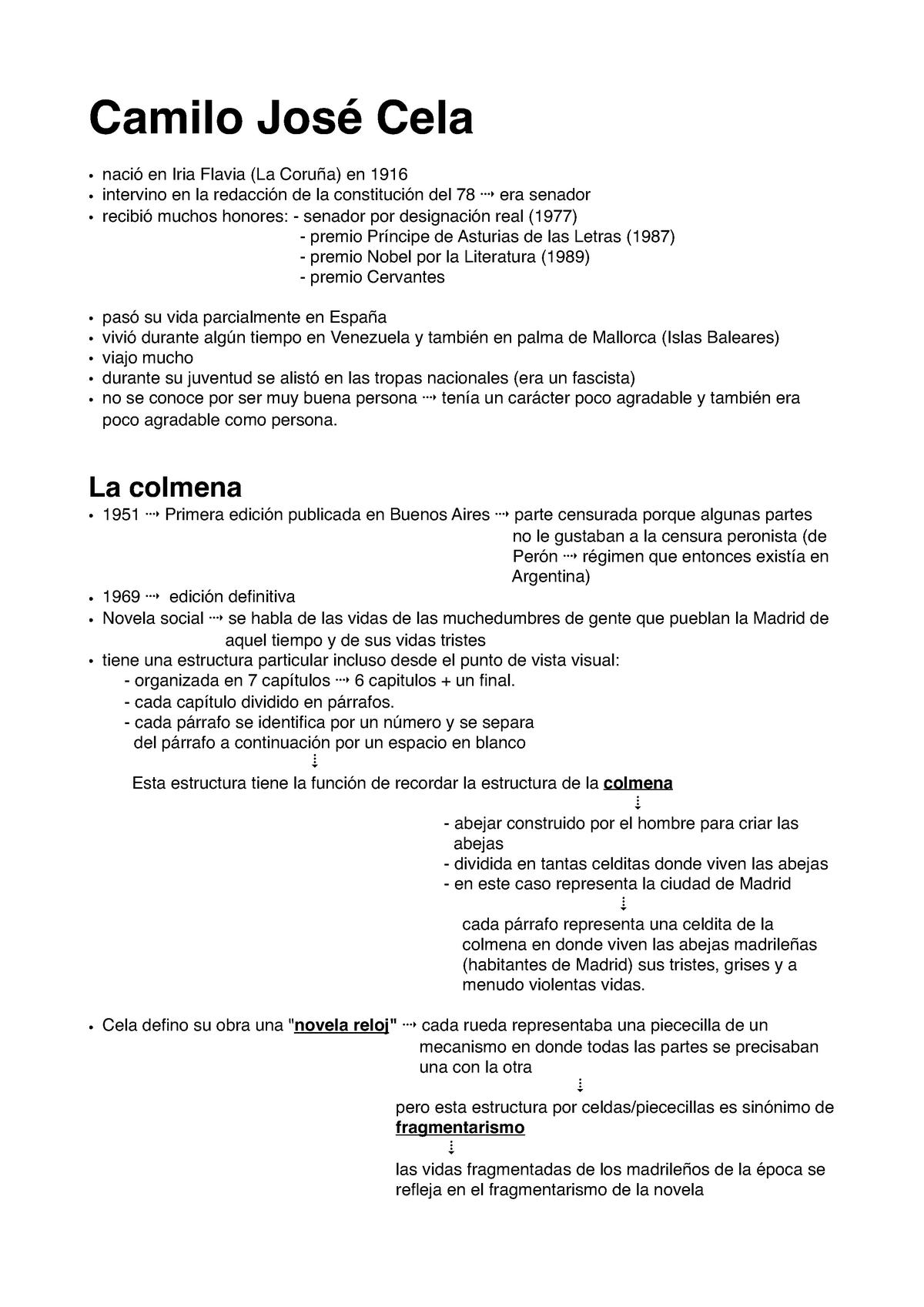 Camilo José Cela Lingua Spagnola Unicatt Studocu