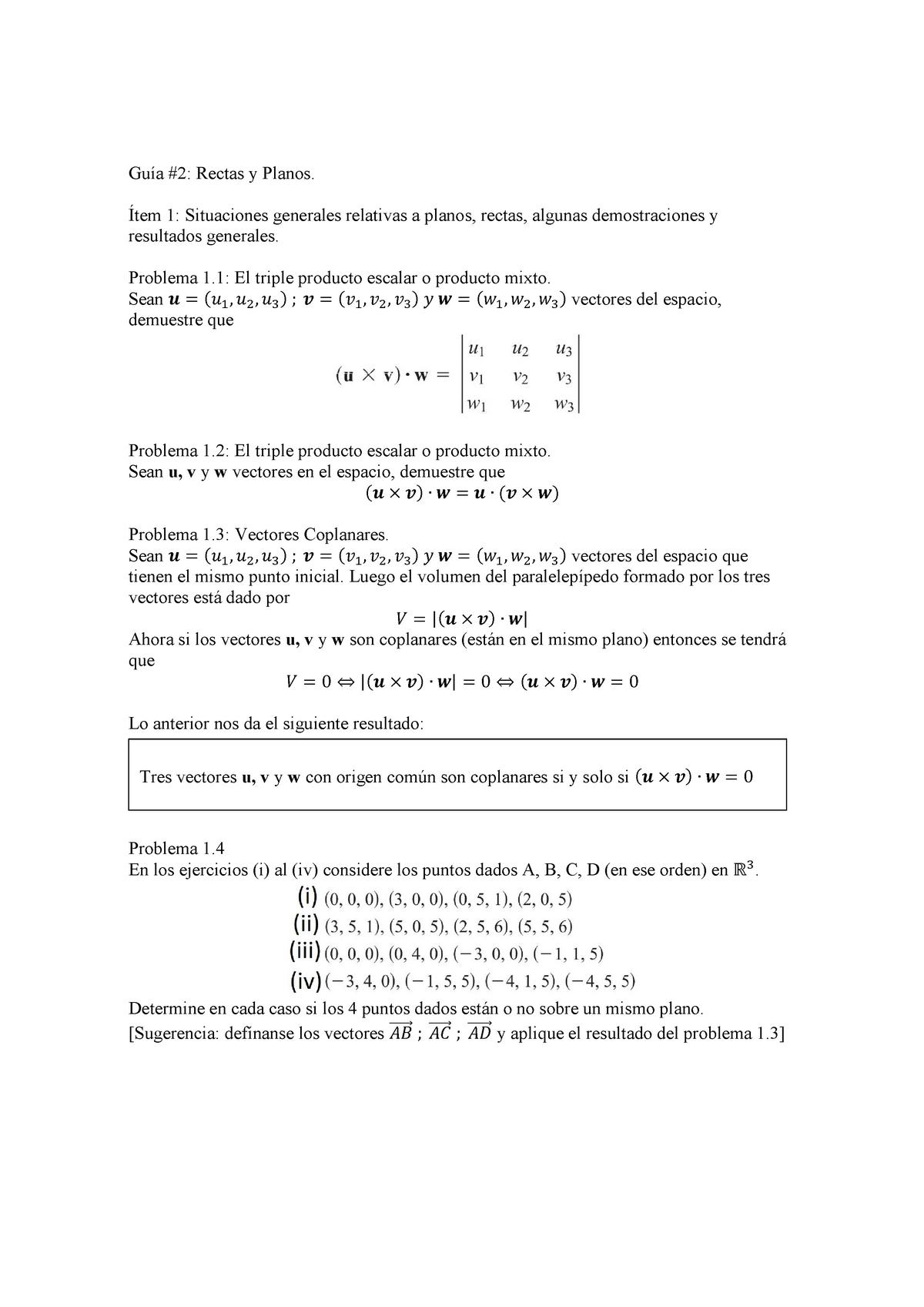GUIA 2 Rectas y Planos - Guia de ejercicios de algebra