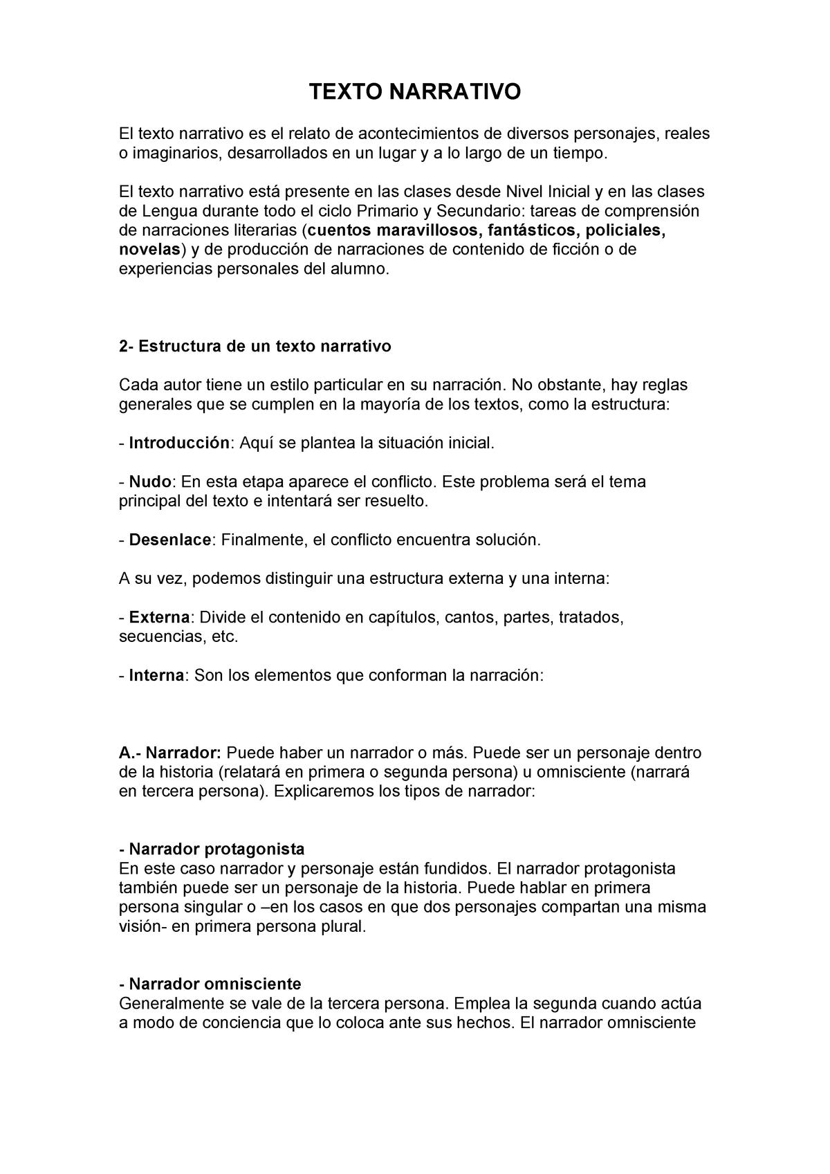 Texto Narrativo Lenguaje Studocu