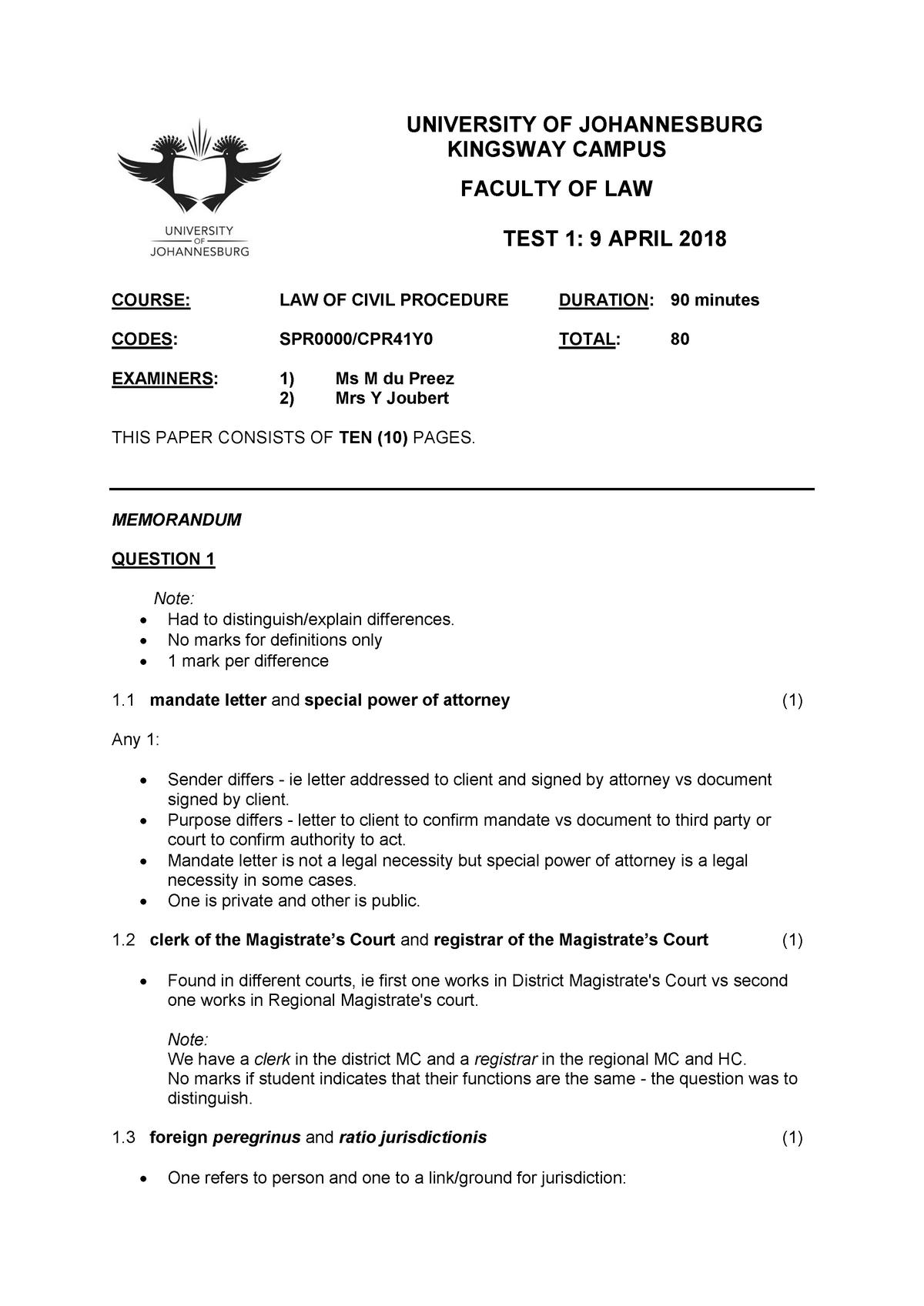 Exam 2018 - CPR41Y0: Law of Civil Procedure - StuDocu