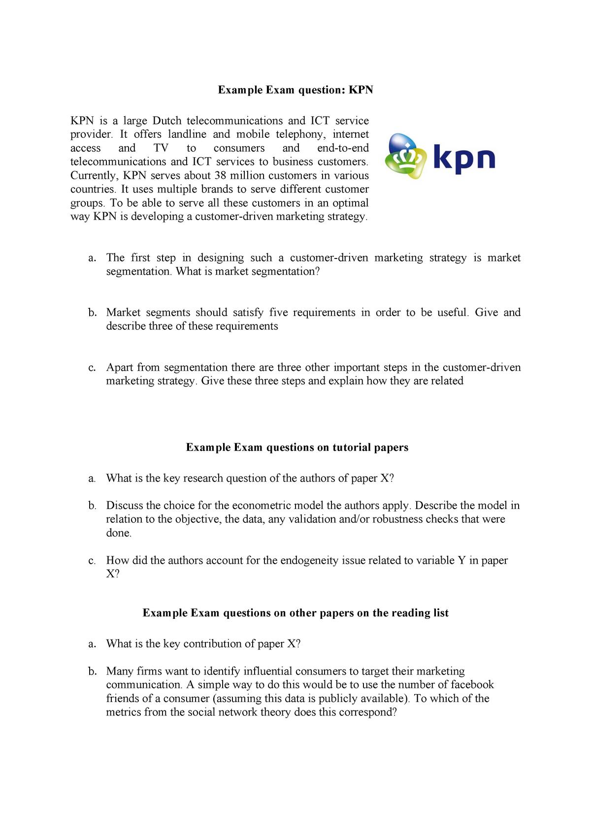 Dummy questions Marketing Analytics - EBB114A05: Marketing Analytics