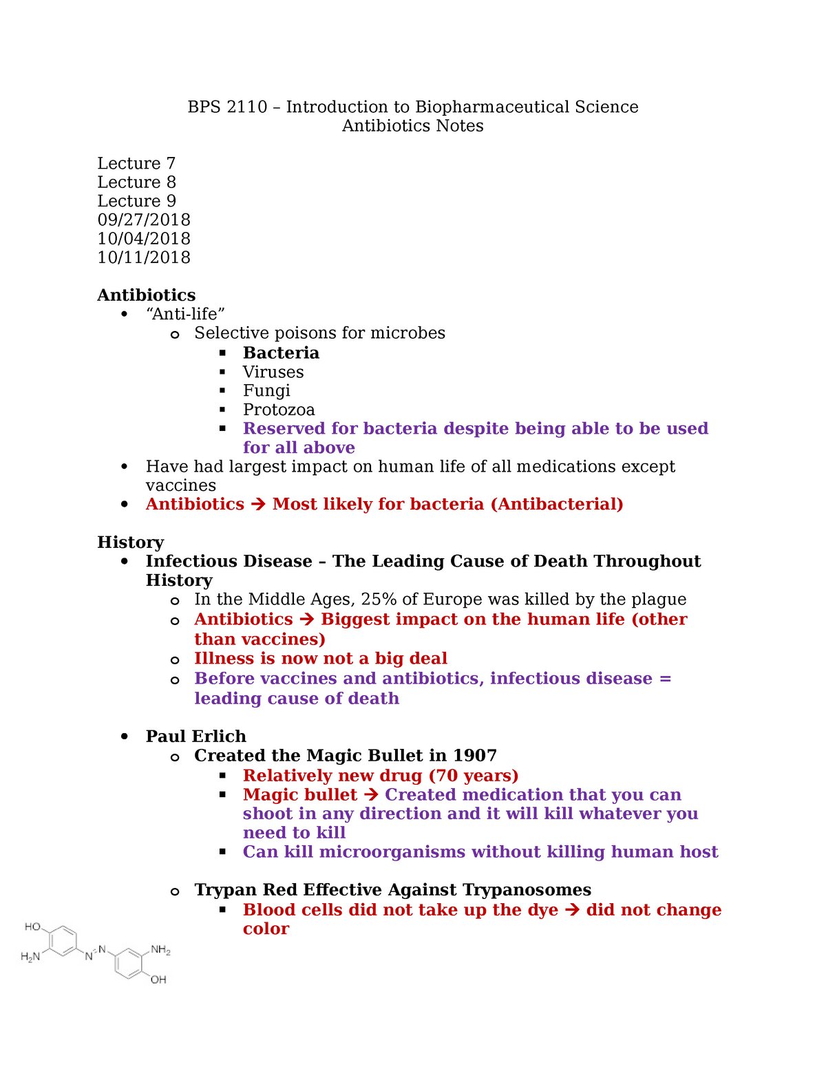 Topic 4 - Antibiotics Notes - BPS2110: Introduction to