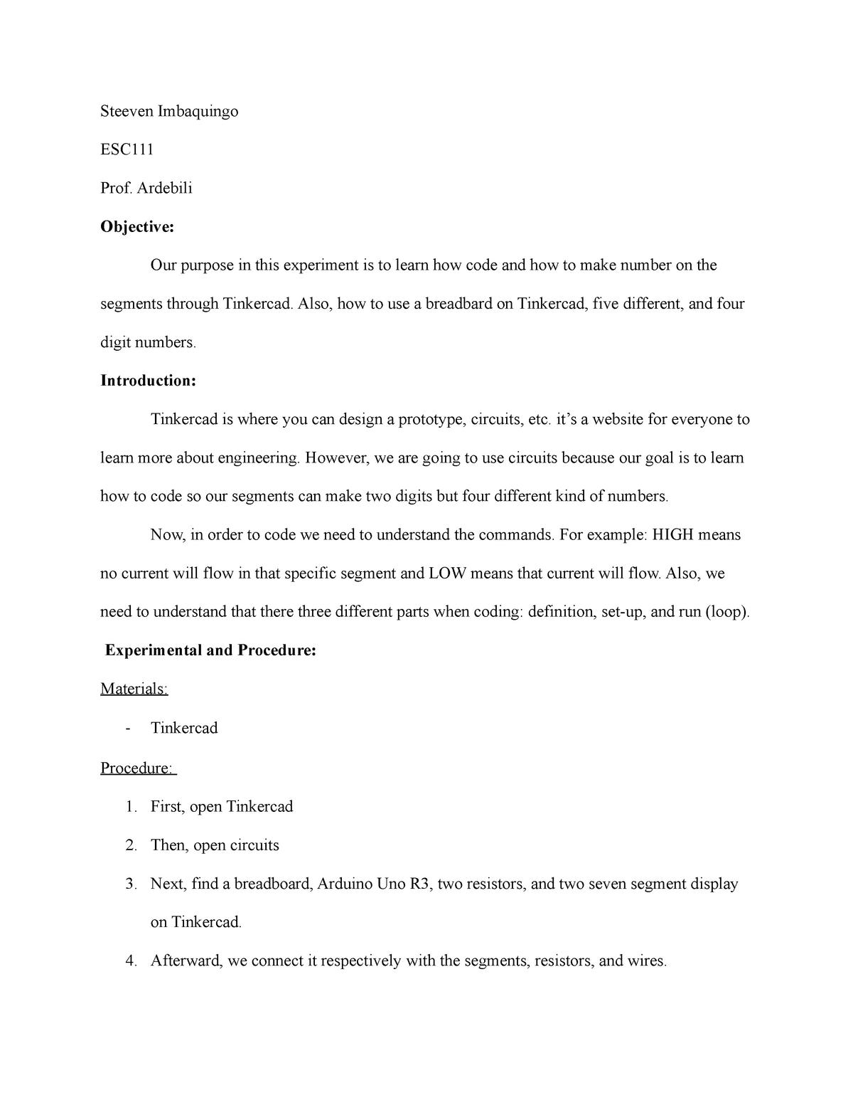 Steeven Imbaquingo - lab report - ESC 111 - BMCC - StuDocu
