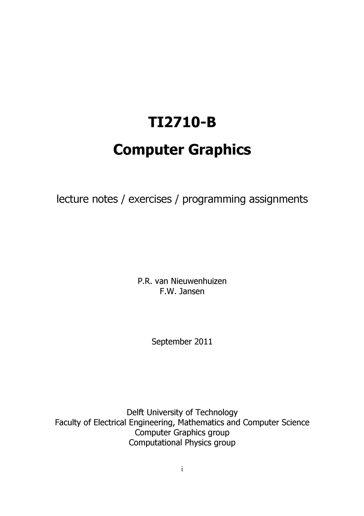 Workbook of the Computer Graphics course - TI1806: Computer
