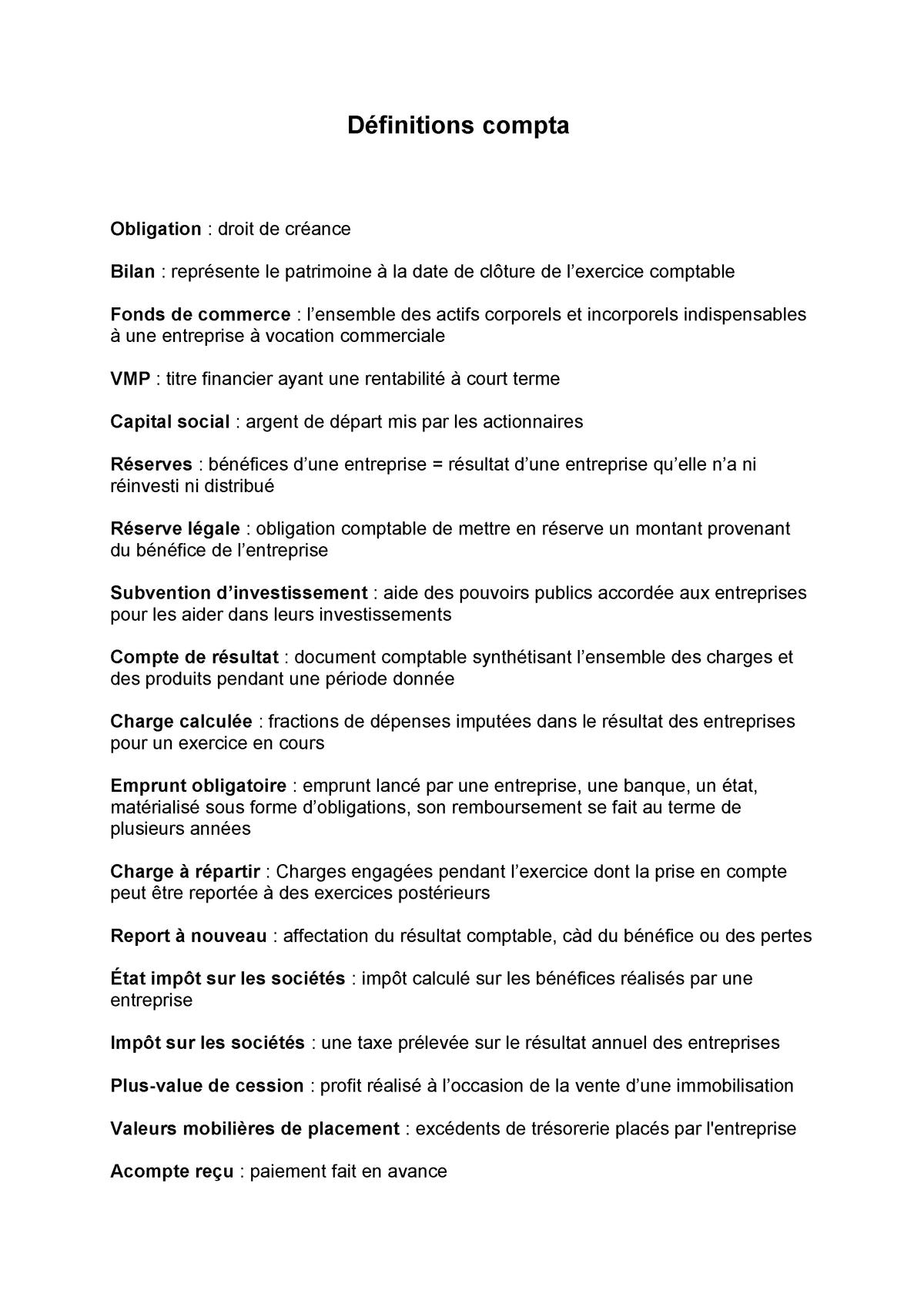 Definitions Comptabilite Kedge Studocu