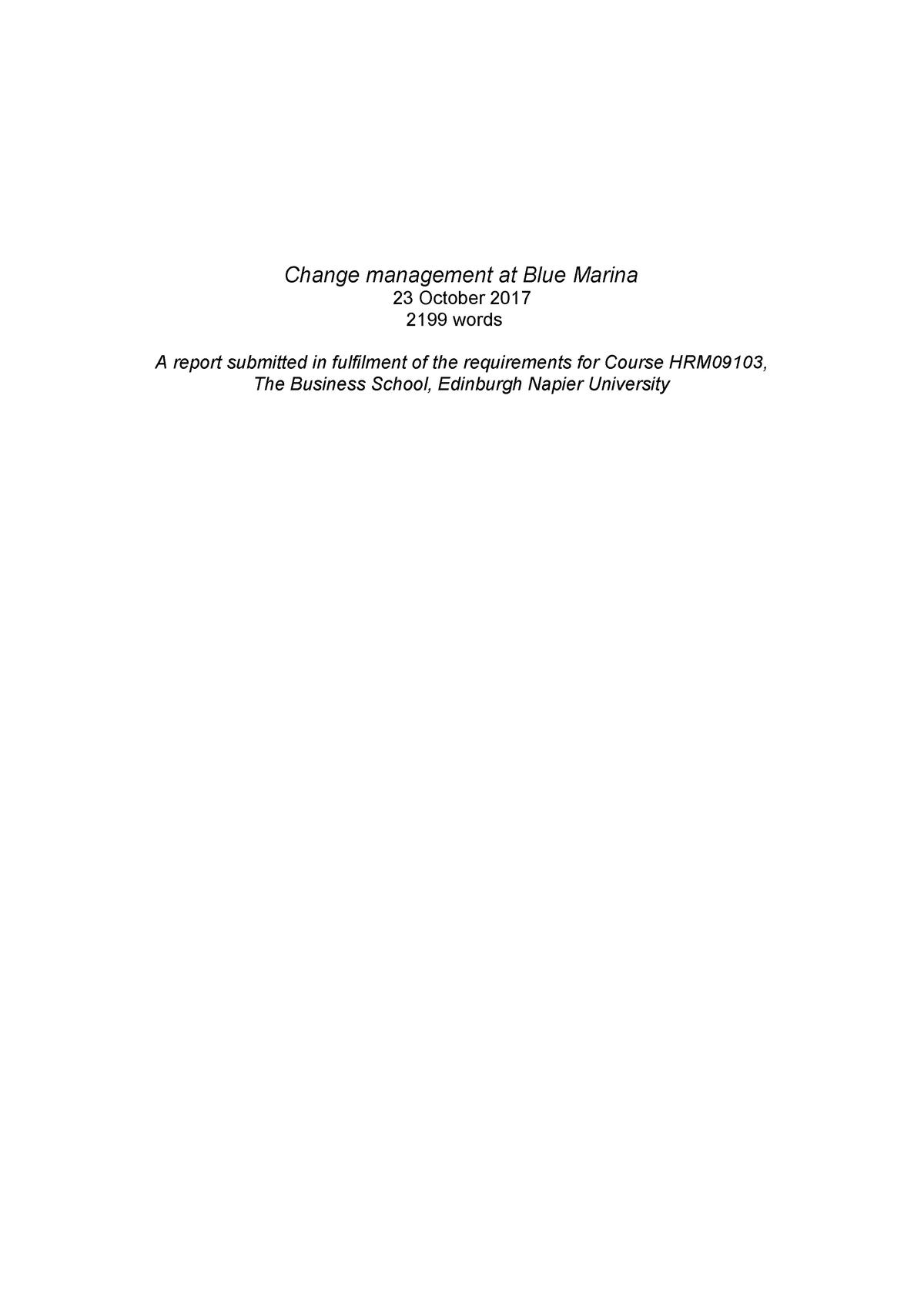 Organizational Change Management Assignment Blue Marina - HRM09103